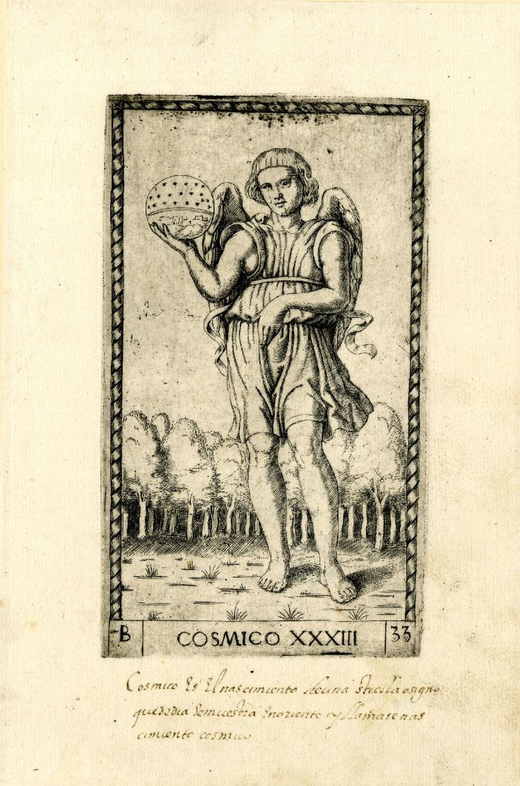 WL male figure, winged, standing in a landscape, frontal view; holding a celestial sphere in his r hand; after the so-called Tarocchi Cards of Mantegna.  Engraving