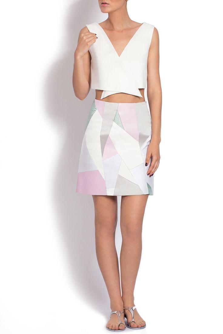 Fusta mini culori pastel design geometric