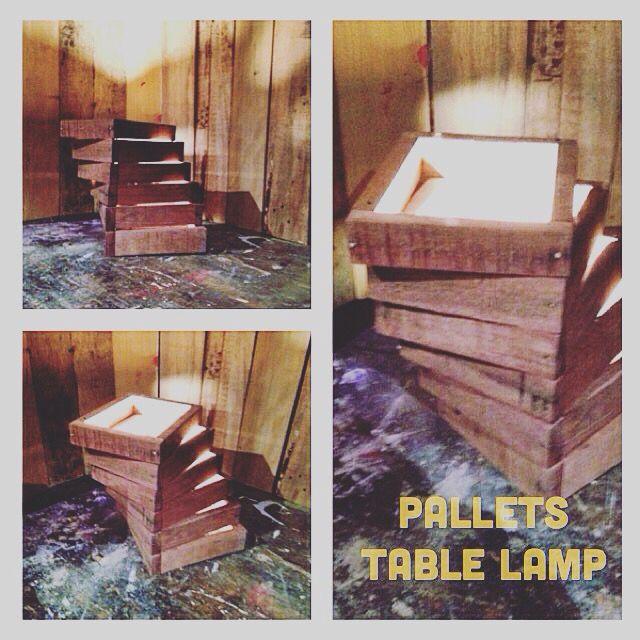 #pallets #tablelamp -#handmade #wood #design #riciclocreativo #riciclo #homedecor #recycle  #basementshop #pallet #palletfurniture #diy #hobby #bancali #table #lamp