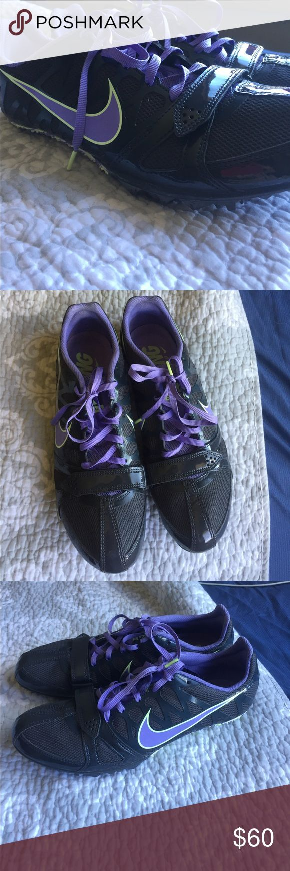 Nike Size 10 sprinter sneakers These are black green and purple size 10 Nike track and Field sprinter shoes. They do not have spikes in them, and I do not have any extra to give out. They do come with the appliance to remove the spike. These shoes are for sprinting track and field. I wore them to 4 meets and that is all. Excellent condition. Please ask any questions! Nike Shoes Athletic Shoes