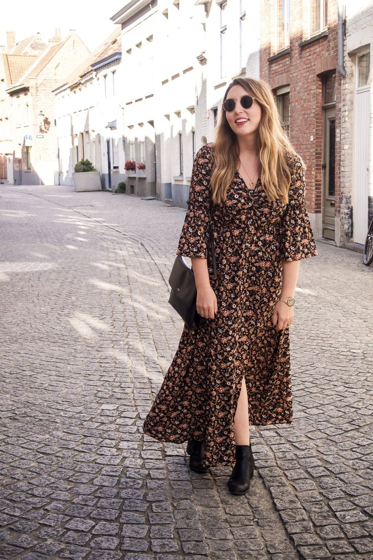The Best Maxi Dresses (And Midi Ones, Too!) For Autumn | Zara Floral Midi Dress, M&S Chelsea Boots, Ray Ban Sunglasses, Elie Beaumont Watch | Wolf & Stag