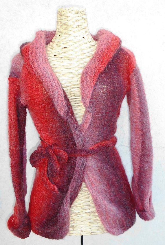 So many shades of red jacket by TheKnittingRobot on Etsy