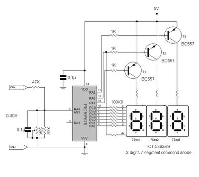 Digital volt meter using PIC 16F676*Circuits Mania