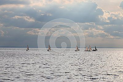 Group of dinghies moves at the Neva Bay on a cloudy evening. Saint-Petersburg, Russia