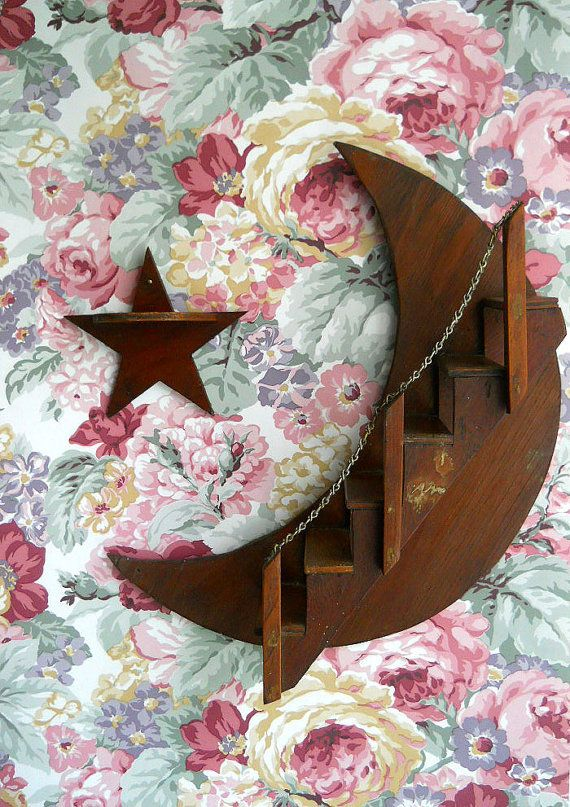 Vintage Wooden Moon And Star Knick Knack Shelf 1950 S