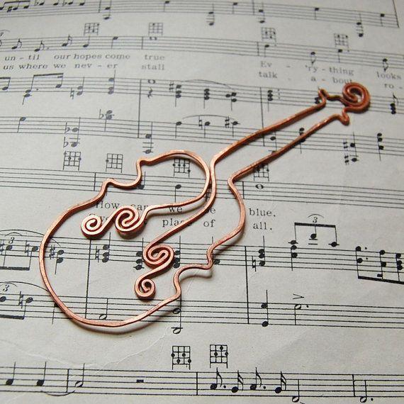 Violin copper bookmark