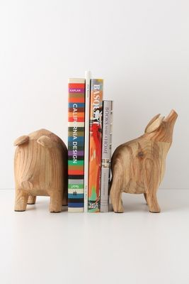 via anthropologie: Pot Belly Pig Bookends (me smiling)