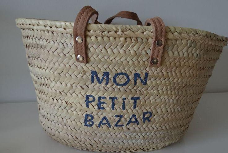 Panier de plage en paille customisé tendance : Autres sacs par une-etoile-dans-ma-bulle