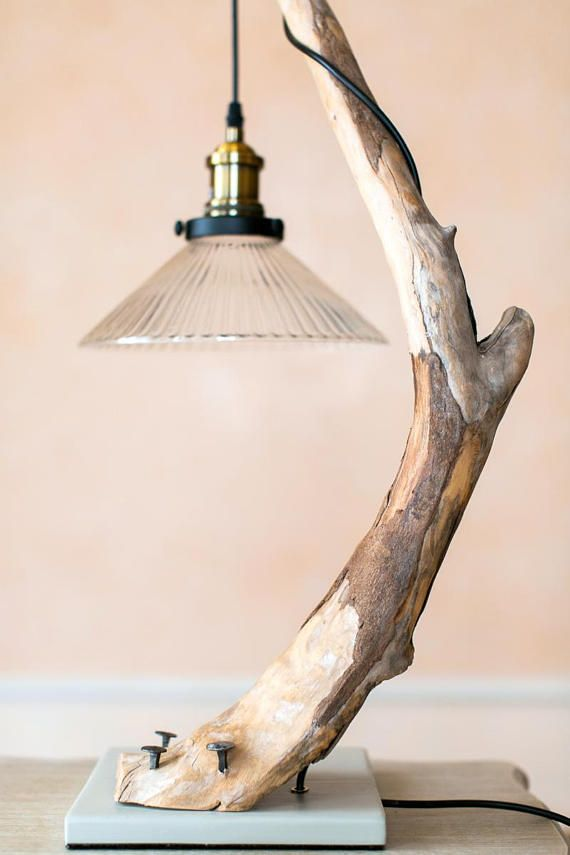 Driftwood lamp SNAKE with large Edison bulb. Wood lamp. Home decor. Lighting. Treibholzlampe