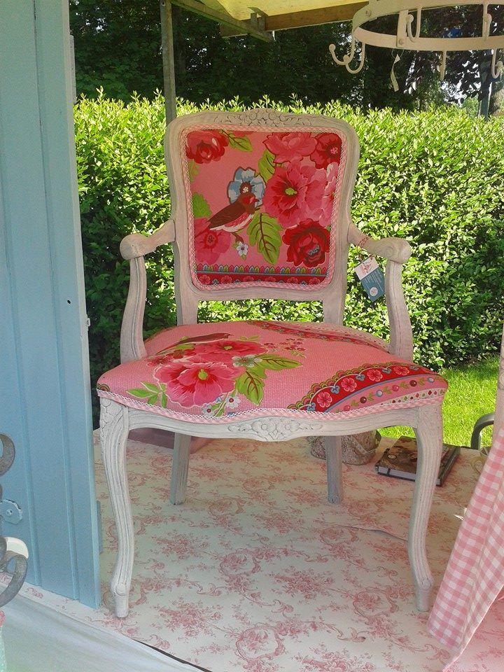 Gepimpte brocante stoel door huisje vol gezelligheid huisje vol gezelligheid pinterest - Stoel dineren baroque ...