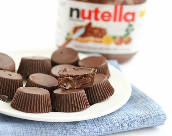 chocolate nutella cups: Chocolate Nutella, San Diego, Chocolates Chips, Recipe, Nutella Cups, Chocolates Cups, Food Blog, Chocolates Nutella, Peanut Butter Cups