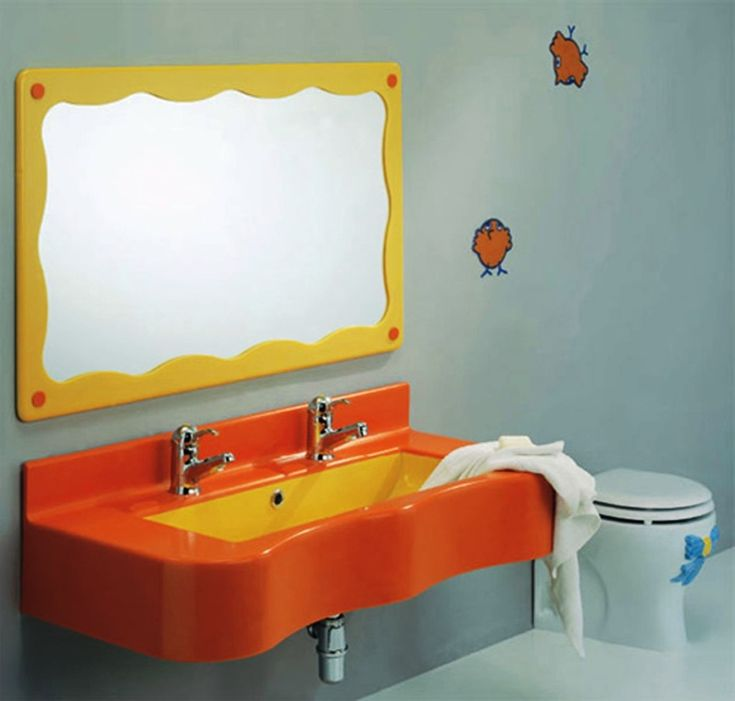 Bathroom Minimalist Kid Bathroom Design Ideas With Stainless Steel Faucet And Mounted Mirror With Amusing Orange Washbasin Design For Kids Bathroom Interior Design Ideas And Blue Wall Surprising Kid Bathroom Ideas