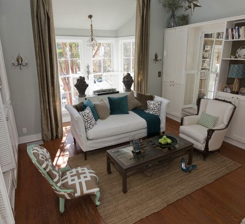 Just a few teal accents add spark to this muted neutral for Accent colors for neutral rooms