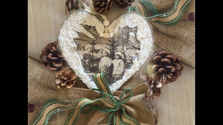 Decoupage Tutorial Christmas Heart - Ντεκουπάζ Χριστουγεννιάτικη Καρδιά ...