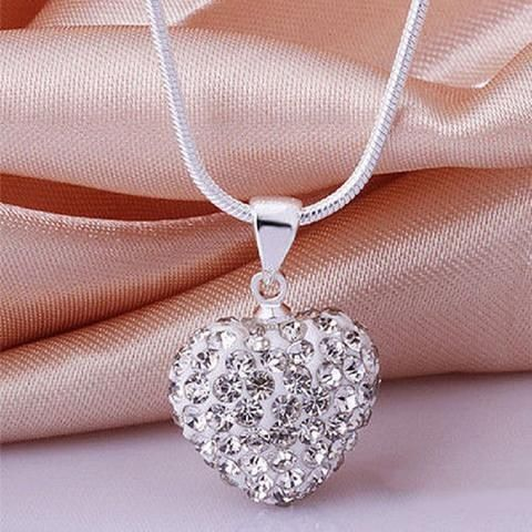 Crystal Heart Shaped Pendants Necklaces with Chain