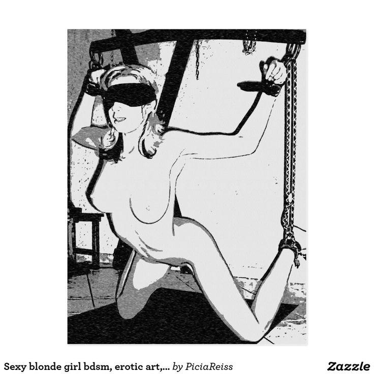 Sexy blonde girl bdsm, erotic art, device bondage postcard