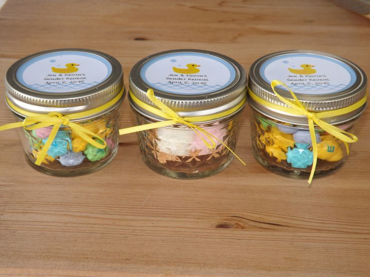 Set of 12- 4oz. Mason Jar Favors- Baby Shower, Gender Reveal Jar Favors- Personalized Baby Shower Favors- Duck Favors by JirehCraftyCreations on Etsy https://www.etsy.com/listing/227557173/set-of-12-4oz-mason-jar-favors-baby
