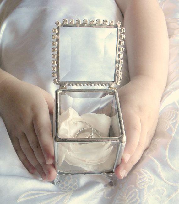 Ring Bearer Pillow Alternative, Glass Box, Rhinestone, Ring Pillow Alternative, Wedding Ceremony, Wedding Ring Box, Silver