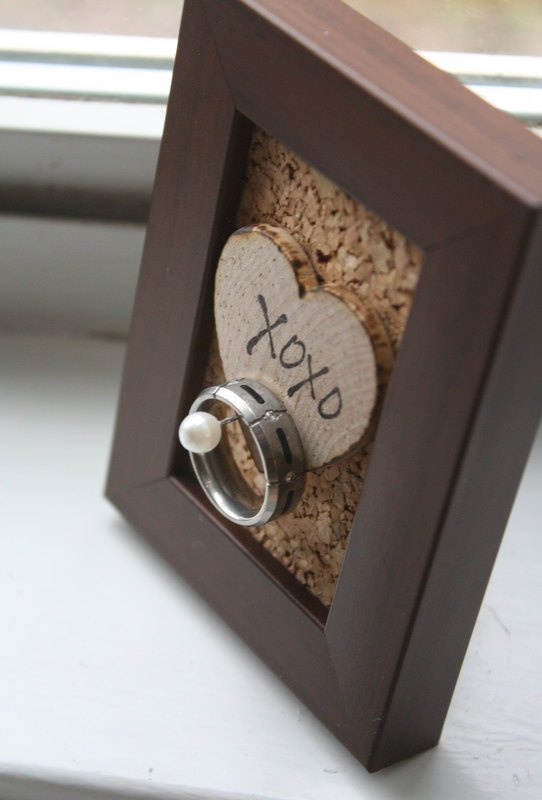 Wedding Ring Holder Frame  Rustic  Shabby Chic  by thepaperynook, $12.95 - I think I might make this for Spencer