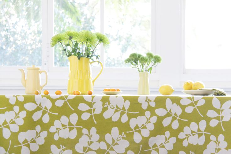 Decorate your table with citrus yellows, oranges and green spring flowers  www.dandi.com.au