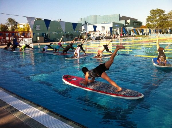52 best sup yoga images on pinterest paddle board yoga for Stand up pool