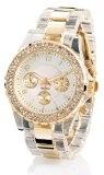 Crell Elegante Quarz-Armbanduhr, transparent-gold