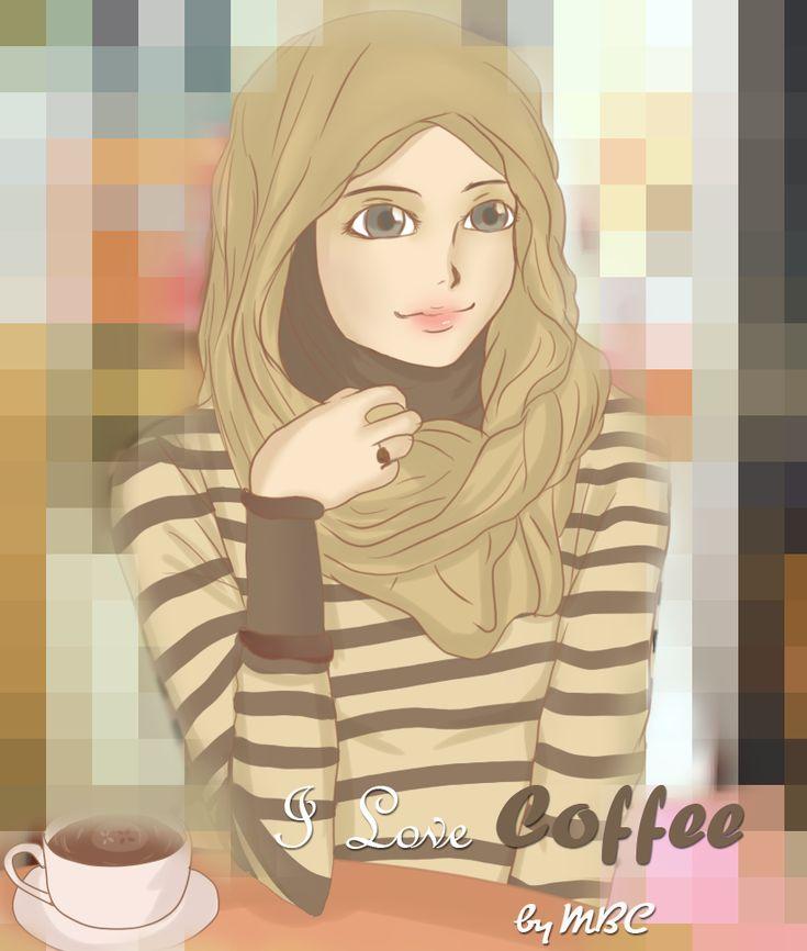 Hijabi Muslim Girl With Cup of Coffee