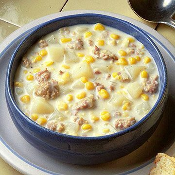 Corn-Sausage Chowder - I want to tweak this with fresher ingredients, but I love the basic idea