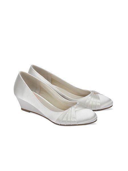 Gleam round toe satin wedge shoes