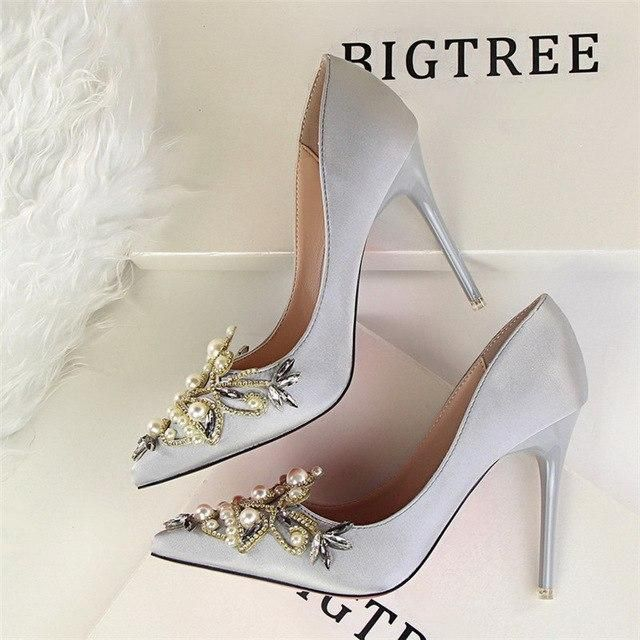 365ab9a0b pearl designer valentine satin bigtree shoes luxury brand wedding shoes  rhinestones crystal high heel shoes party sexy pumps