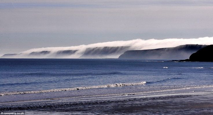 This spectacular scene was captured as mist and low cloud spilled over the cliffs at Cayto...