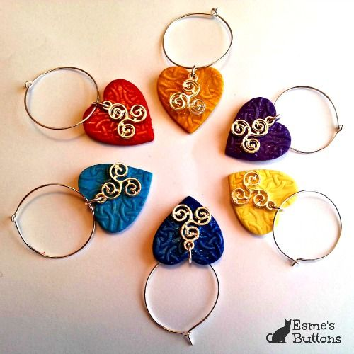 Set of 6 Handcrafted Celtic Wineglass Charms (Triskele)