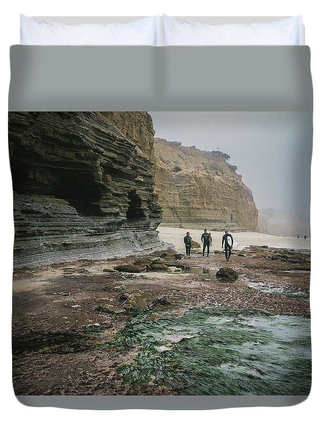 """Surfers by the Cliffs"" Landscape photography on a Duvet Cover by Valerie Rosen Photography"