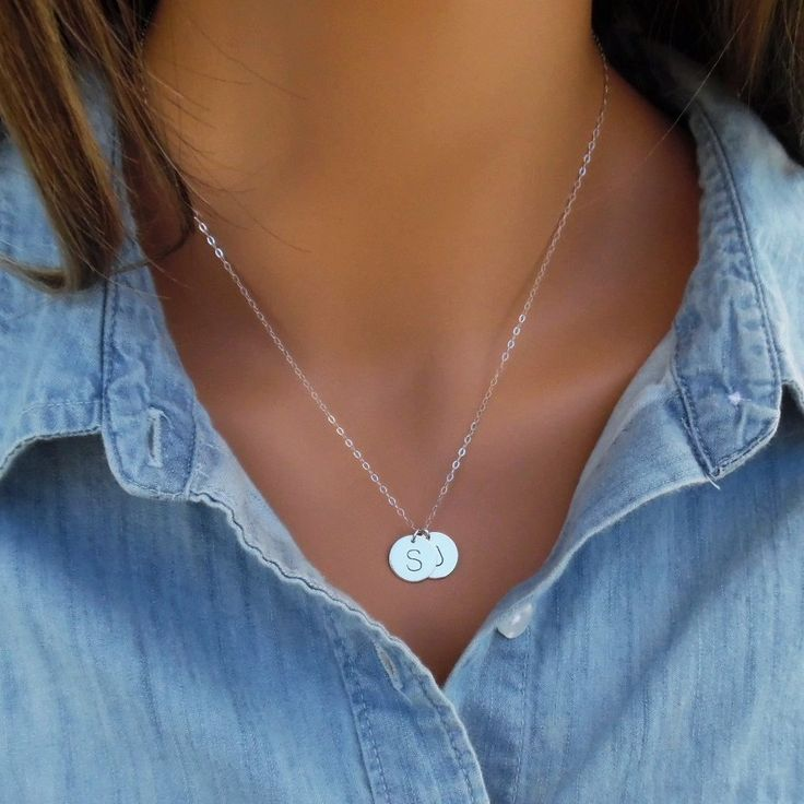 STERLING SILVER Initial Disc Necklace, Silver Initial Disc Necklace, Monogram Necklace, Hand Stamped Initial Necklace, Choose up to 5 Dscs