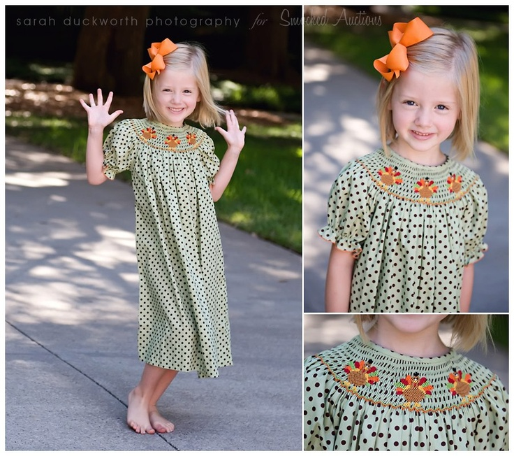 Smocked Turkey Dress from Smocked Auctions