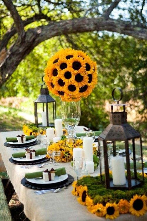Fall tablescapes don't always have to fall in the orange and red family. Let yellow take the stage with beautiful sunflower centerpieces.