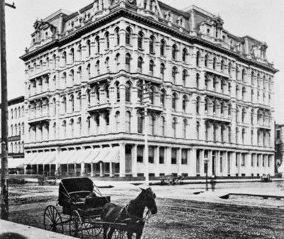 The original Marshall Field Department Store (then called the Field and Leiter Store) at the corner of State and Washington, 1868, Chicago.