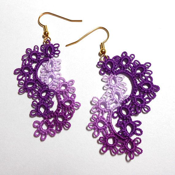 Tatted Lace Earrings  Cascade Tatted Earrings  Your Color