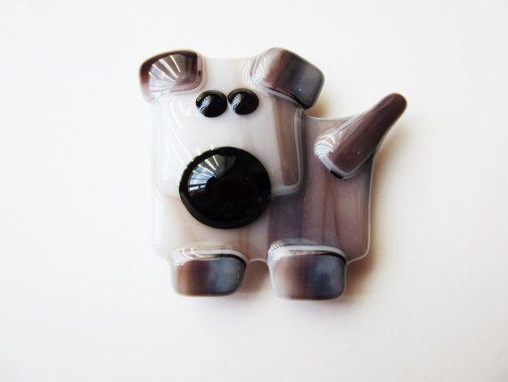 Dog Magnet  Dog Lover Gift  Fused Glass Magnet  by LaRocheStudios