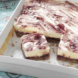 Raspberry Cheesecake Bars Recipe from Taste of Home -- shared by Jill Cox of Lincoln, Nebraska