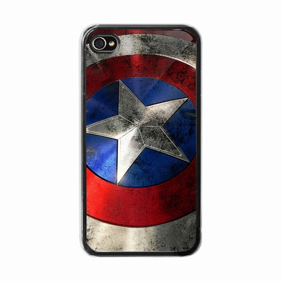 iPhone 4 /4s hard case captain america shield Phone by BeeCase, $15.50
