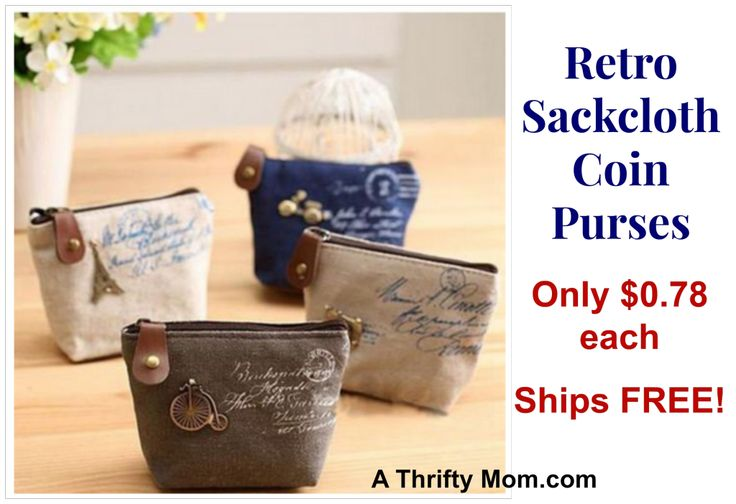 Retro Coin purse only $.79 each, such a fun gift ideaFree Ships, Gift, Classic Handbags, Money Bags, Coins Purses, Pur Wallets, Retro, Canvas, Coin Purses