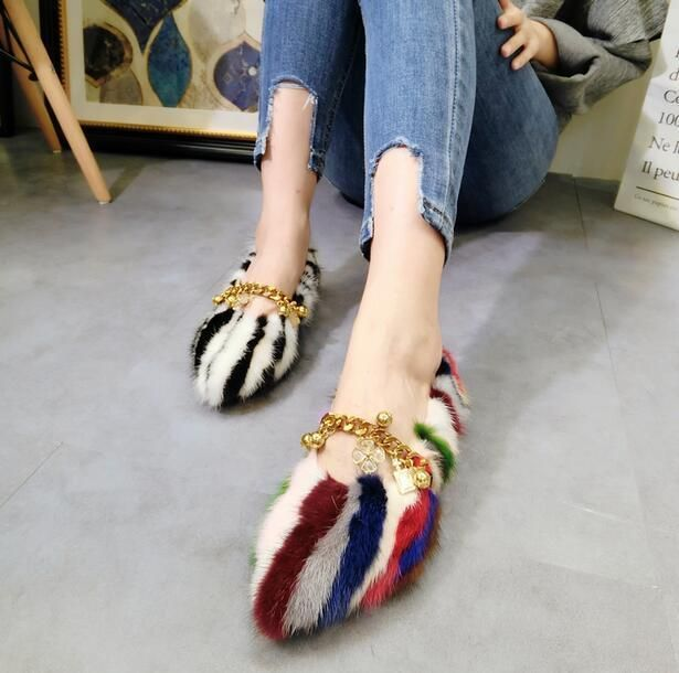 9Colors Womens Fur Lined Warm Boat Boots Flat Heel Chain Casual Vogue Shoes