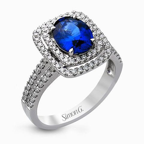 Sapphire & Double Halo Ring