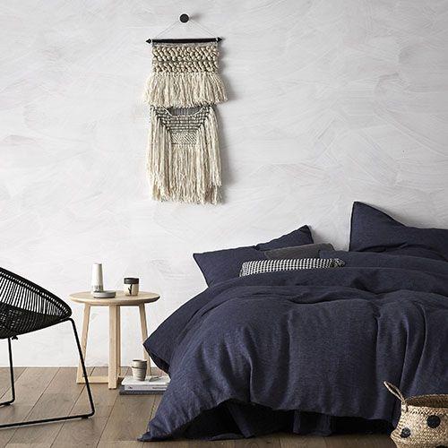 Vintage Washed Linen Quilt Cover Denim