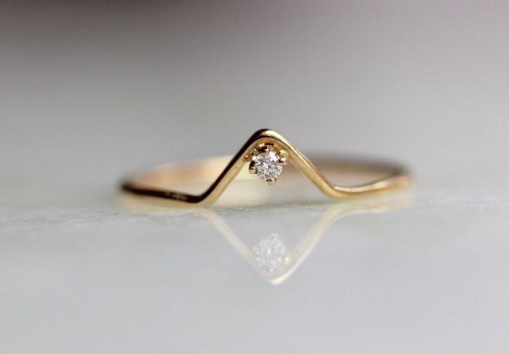 Anello di 14k diamanti Chevron anello anello V di LieselLove