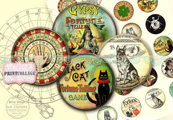 Digital Collage Sheet Printable images for Bottle Cap 30mm 20mm 16mm 12mm 10mm circle Cabochon images Instant download Fortune Teller C78
