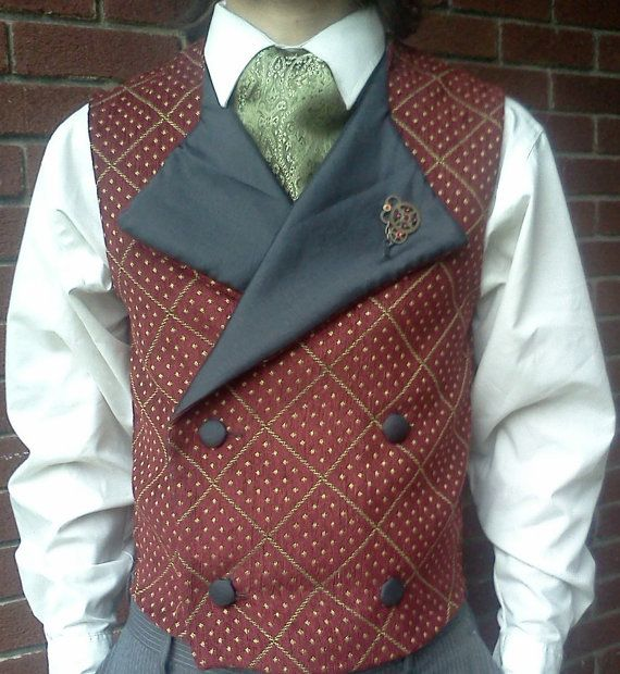 Burgundy and Gold Men's Vest  Made to Order by engineerandthegypsy, $60.00