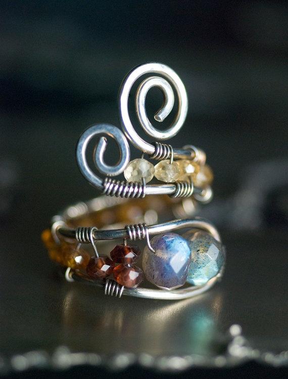 Oxidized Sterling Silver Adjustable Wirework Ring - Blue Fire Labradorite & Hessonite Garnet