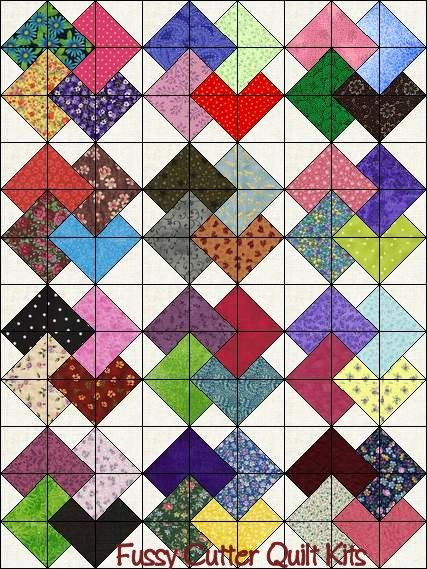 Easy Scrap Quilt Block Patterns : Scrappy Patchwork Fabric Card Trick Pattern Fast Easy to Make Ready to Sew Pre-Cut Quilt Blocks ...